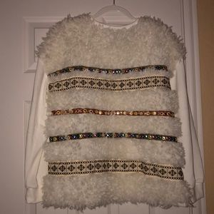Zara Moroccan Furry Sweatshirt Top